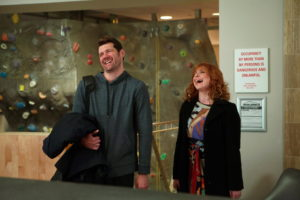 """DIFFICULT PEOPLE -- """"Unplugged"""" Episode 201 -- Pictured: (l-r) Billy Eichner as Billy Epstein, Julie Klausner as Julie Kessler -- (Photo by: Linda Kallerus/Universal Cable Productions)"""