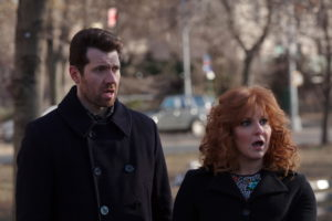 "DIFFICULT PEOPLE -- ""Kessler Epstein"" Episode 202 -- Pictured: (l-r) Billy Eichner as Billy Epstein, Julie Klausner as Julie Kessler -- (Photo by: Linda Kallerus/Universal Cable Productions)"